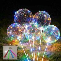 Wholesale ballon led for sale - Group buy Flashing Led Bobo Balloon With Sticks Helium Transparent Ballon Wedding Birthday Decorations Stage Frequency Led Light Balloon bbyjOm