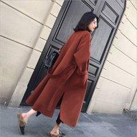 Womens Wool & Blends Coat with Belt extra Long Warm Winter hipster jacket women outerwear overcoat oversized coats