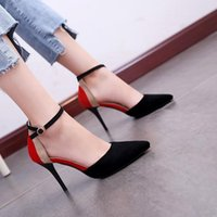 Wholesale comfort work shoes for sale - Group buy 2020 New Concise Elegant Female High Heels Korean Wild Shallow Mouth Single Shoes Fashion Middle Hollow Comfort Work Shoes