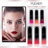 Wholesale lip glossy resale online - Drop Ship Epack Pudaier Waterproof Liquid LipGloss Metallic Matte Lipstick For Lips makeup Long Lasting Matte Nude Glossy Lip Gloss Cosmetic