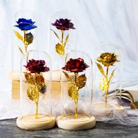 Wholesale rose colored glasses for sale - Group buy 24k Gold Foil Plated Rose LED Eternal Flower Immortal Dome In A Flask Glass Cover Valentine s Day Gift Christmas Decorations GGA3766