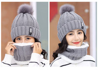 Wholesale loop yarns resale online - 2020 Winter Hat Womens Beanie Hats Thick Warm Women Thick Cable Knit Ribbed Infinity Circle Loop Scarf Outdoor Riding Hat Scarves Set