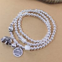 Wholesale white elephant gifts resale online - ANPJS Pure with silver rings of three silver little elephant round bead multi layer bracelet Thai beads bracelet gift ogpJC