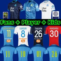 Wholesale Olympique De Marseille Maillot OM Soccer Jersey Men Kids Maillot De Foot THAUVIN BENEDETTO third AMAVI Football Shirt ÁLVARO