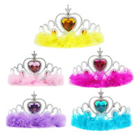 plastik party tiaras groihandel-New Plastic Feather Princess Crown Children Kids Adult Girls Rhinestone Hair Accessories Tiaras Cosplay Crown Party Favor Gifts TY7-119
