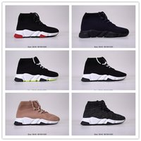 Wholesale hot men sock soccer resale online - 2020 Hot Sale High Top Casual Knitted Light Sock Shoes Black Brown Fashion Flat Sock Boots Men Women Casual Shoes Speed Trainer