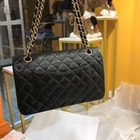 Wholesale black quilted handbag gold chain resale online - Women s Classic Leather Caviar Handbag Quilted Black Gold Silver Chain Flap Bag Genuine Leather shoulder bag