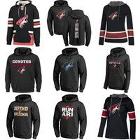 Wholesale kids hockey hoodies for sale - Group buy Hot Sale Custom Mens Womens Kids Arizona Coyotes Cheap Best Quality Full Embroidery Logos Black Ice Hockey Hoodies with Any Name Any No