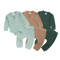 Wholesale cotton knit pajamas resale online - 2Pcs set Baby Clothing Set Boys Girls Baby Pajamas Cotton pit knitted outfits rompers Pants Kids Casual Wear Clothes M2898