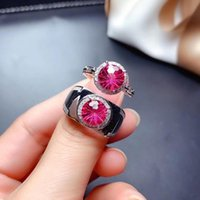 Wholesale good gifts for anniversary resale online - High purity natural red topaz ring real silver valentine ring good color anniversary gift couple for date love confess