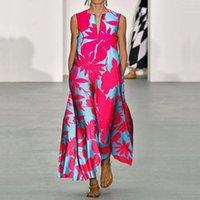 Women summer new V-neck sleeveless printed bohemian dress s-xxl