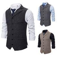 2021 Chic Gray Groom Vests Wool Groomsmen Vest Slim Fit Mens Dress Suit Vest Prom Dinner Party Wedding Attire Waistcoat Custom Made Cheap
