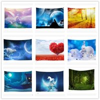 Wholesale beach art paintings resale online - New INS Tapestry Nordic Wall Hanging Tapestries Colorful Wall Art Painting Beach Towel Carpet Yoga Mat Sofa Cover Home Decor Blanket BWA1021