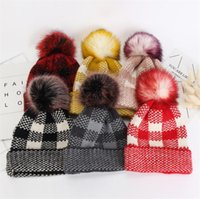 Wholesale crochet watermelon for sale - Group buy Winter Beanies Women Crochet Hats Plaid Imitated Mink Wool Beanie Hat Thick Warm Soft Knitting Hat with Pom Pom Fashion Skull Caps LY11062