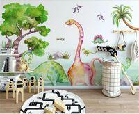 Wholesale dinosaur wallpaper mural resale online - custom size d photo wallpaper mural kids room cartoon dinosaur animal tropical tree picture sofa backdrop wallpaper mural non woven sticker