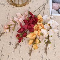 Discount artificial orchids single flowers New Wholesale Artificial Flower Gladiolus Orchid Silk Single Flowers Branch Wedding Home Hotel Decor DIY Flower Materials 5Color1