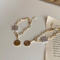 Wholesale pearl coin bracelets resale online - BB7WE ins design pearl fashionable portrait Gold Coin K minority gold plated girlfriends bracelet National Bracelet lighthand ring S003 Hkt