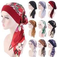 Wholesale muslim head hijab resale online - 1PC Muslim Turban Hair Loss Hat Hijab Cancer Head Scarf Chemo Pirate Cap Headwear Bandana Printed Adjustable Elastic Hats