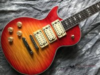 Wholesale left handed white guitar resale online - Custom shop Ace frehley signature pickups Electric Guitar Left hand guitar flamed maple wood Transparent red gradual color
