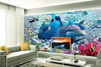 Wholesale dolphin promotions resale online - 3d Paper Wall Dolphin Wallpaper Promotion Underwater World Dream D Stereo Scenery TV Background Wall Decoration Mural Wallpaper d Wallpape