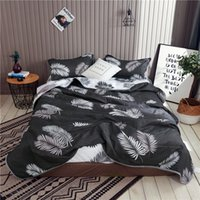 Wholesale comforters sets resale online - Bonenjoy pc Summer Quilted Comforters Set Black and White Reactive Printed Machine Washed Double Bedspreads Queen Quilt Set LJ201016