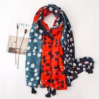 Wholesale flower print scarf viscose for sale - Group buy 2020 Women Black Polka Flower Viscose Scarf Ladies Long Shawl and Echarpe Print Scarves Female Beach Stole Bandana