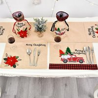 Wholesale place holders resale online - Christmas Table Mat Linen Christmas Flower Place Mat Creative Tableware Mats Holder Christmas Table Decoration For Home CM OWD1238