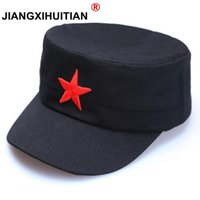 Wholesale star military hats for sale - Group buy 2018 New Men Military Hats Women Cotton Flat Top Classic Dad Five Star Planas Fitted Winter Hats For Men Snapback Military Cap yxlefA