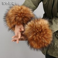 Wholesale wrist fur cuff for sale - Group buy 2020 New Faux Fur Cuffs For Women Fashion Warm Winter Windproof Cuffs Set Bracelet Fur Oversleeve Elastic Arm Wrist CG02