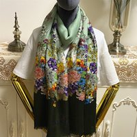 Wholesale materials for scarves for sale - Group buy New style green color good quality cashmere material thin and soft print flowers long scarves for women size cm cm