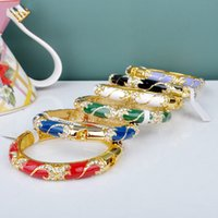 Wholesale cloisonne bangles resale online - 5 Choices Chinese Cloisonne bracelet national wind Korean version of the hollow enamel bangles jewelry gift