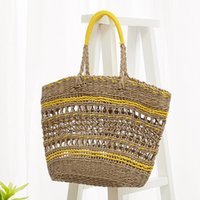 Wholesale big woven beach bags resale online - Openwork large straw bag female shoulder beach bag hand woven big Cut Out Tote Bag