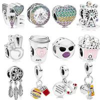 925 Sterling Silver Heart Charm Ferris Wheel Beads Fit Original 3mm Bracelets DIY Pendant Charm Jewelry