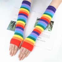 Wholesale striped long arm warmer resale online - 2 pieces set New Half Finger Arm Cover Autumn Rainbow Color Long Warm Gloves Japanese Style Striped Knitted Sunscreen Arm Cover