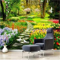 Wholesale photos background garden resale online - Custom D Nature Flowers Garden Path Photo Mural Wallpaper Living Room Bedroom Home Decor Background Wall Covering Papel Murals