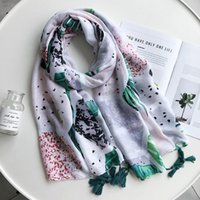 Wholesale diamond resorts resale online - Spring Summer New Silk Scarf Diamond Tropical Green Leaf Print Sunscreen Large Shawl Beach Resort Beach Towel Cotton Scarf Woman wmtoKH