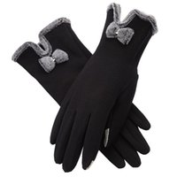 Wholesale brown leather cycling gloves resale online - Brand New Touch Screen Gloves Women s Autumn Winter Bow Velvet Warm Mittens Glove Female Cycling Cute Burrow Outdoor Gloves