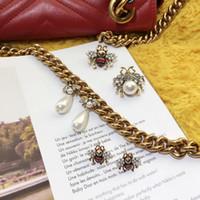 Wholesale stud vintage accessories for sale - Group buy designer Women Brand Fashion Cute crystal bees stud earrings female vintage pearl earrings enamel animal jewelry wedding brincos accessories
