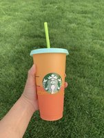 24OZ Color Change Tumblers Plastic Drinking Juice Cup With Lip And Straw Magic Coffee Mug Costom Starbucks color changing plastic cup
