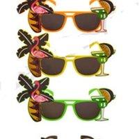 Wholesale hawaiian party dresses resale online - Hawaiian Novelty Glasses Tropical Hula Beach Party Sunglasses Pineapple Flamingo Goggles Hen Night Stage Fancy Dress eyewear