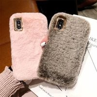 Wholesale lovely grey hair resale online - Hot goods Cute Fluffy Rabbit Hair Fur Case For iPhone XS Max XR X S Plus Cover Lovely Warm Bling Soft Phone Cases
