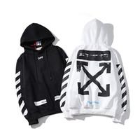 Wholesale arrow style for sale - Group buy New Style men OFF basic striped arrow WHITE Black fleece hooded hoodie letter print men and women hipe hop streetwear