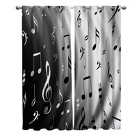 Water Wave Music Black White Musical Notes Window Curtains Living Room Fabric Drapes Curtain Home Decor Curtains for Bedroom