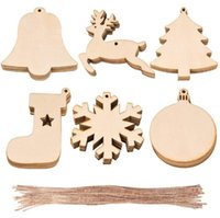Wholesale christmas tree craft ornaments for sale - Group buy Christmas Wooden Ornaments Christmas Tree Hanging Xmas Pendant Blank DIY Wood Craft Gift Decoration GWD2368