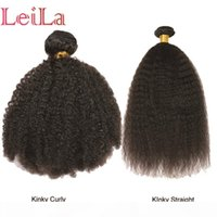Wholesale leila for sale - Group buy LEILA HAIR Brazilian kinky curly kinky straight Bundles Natural Color Human Hair Weave Bundles inch Remy Hair Extension Piece