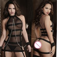 Wholesale Sexy See Through Pajamas Sets Women Chain Lingerie Mesh Bandage Club Hollow Out Underwear Babydoll Sleepwear Lingeries