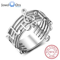 Wholesale musical rings resale online - New Sterling Sliver Rings for Women with Musical Note Pattern Music Lover s Band Ring Fashion Jewelry Gift JewelOra RI102767