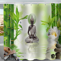 Wholesale tree shower curtain fabric for sale - Group buy Printed Statue Curtain Buddha Polyester Bamboo Bath Waterproof Shower Forest Washable Healing Trees Fabric Curtains Bathroom d wmtZYy