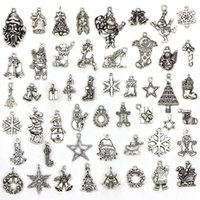 Wholesale santa boots for sale - Group buy 50Pcs Mixed Christmas Boot Santa Claus Snowman Boot Snowflake Charms Pendants Fit for Necklace Bracelet Jewelry DIY Making Accessories