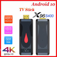 Wholesale stick player resale online - Android TV BOX X96 S400 TV Stick ANDROID Allwinner H313 Quad Core K G Wifi Media Player Youtube G16G TVBox Dongle